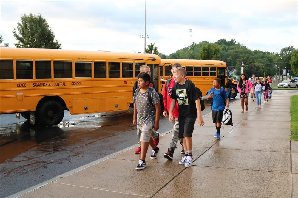 students arrive at school on the first day